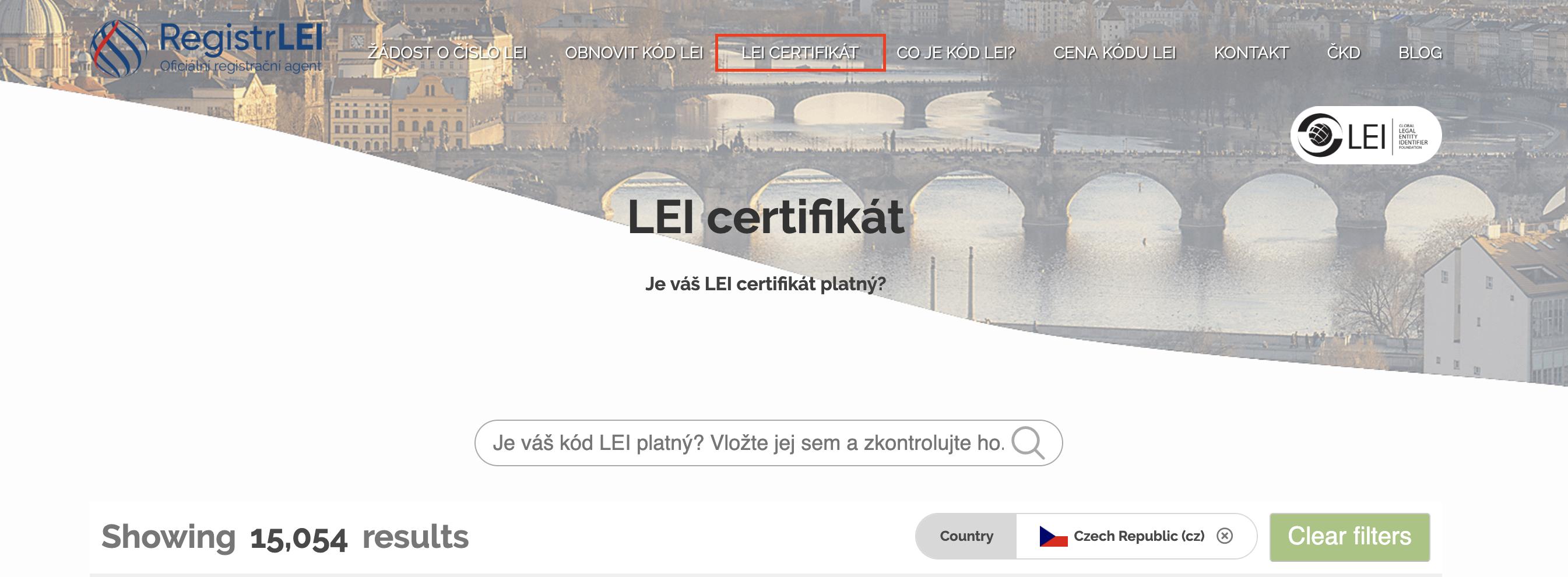 LEI vyhledávací stránka: